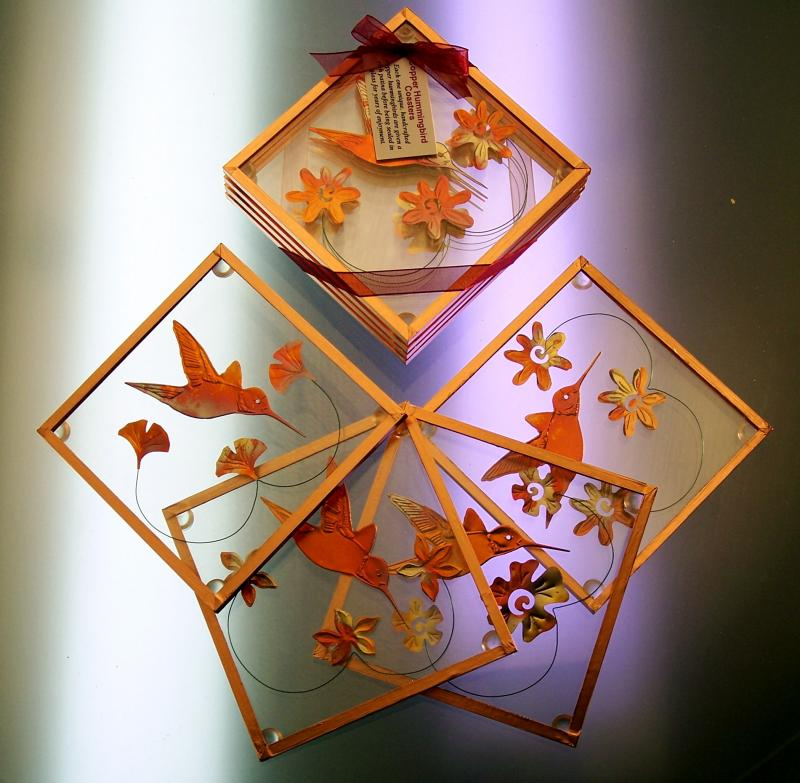 Copper Hummingbird Coasters