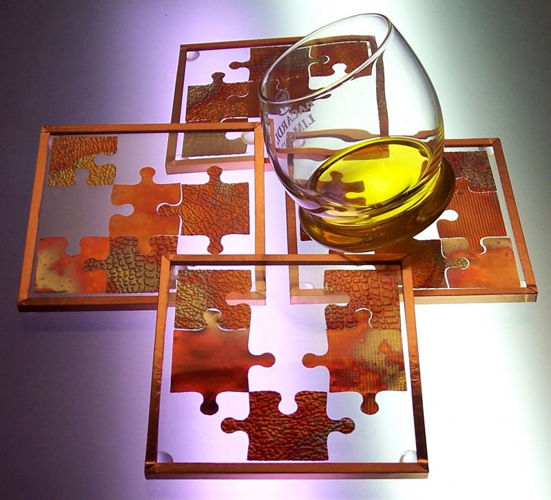 Copper Puzzle Coasters
